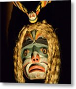 Haida Carved Wooden Mask 4 Metal Print