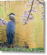 Haiku, Heron And Cherry Blossoms Metal Print