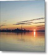 Half A Sunrise - Toronto Skyline From Across Silky Calm Lake Ontario Metal Print