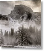 Half Dome In Winter Metal Print by Connie Cooper-Edwards