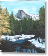 Half Dome Snow Metal Print