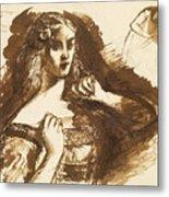 Half-length Sketch Of A Young Woman Metal Print