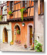 Half-timbered House Of Eguisheim, Alsace, France.  Metal Print
