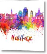 Halifax V2 Skyline In Watercolor Splatters With Clipping Path Metal Print