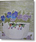 Hall China Crocus Bowl With Violets Metal Print