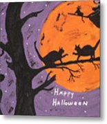 Halloween Cat Fight Metal Print