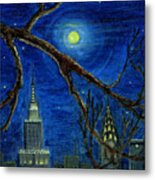 Halloween Night Over New York City Metal Print by Anna Folkartanna Maciejewska-Dyba