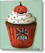 Halloween Pumpkin Cupcake Metal Print by Catherine Holman
