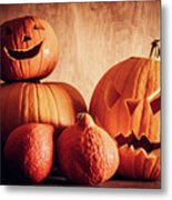 Halloween Pumpkins, Carved Jack-o-lantern. Metal Print