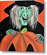 Halloween Witch And Pumpkin Art Metal Print