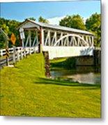 Halls Mill Covered Bridge Landscape Metal Print