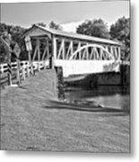 Halls Mill Covered Bridge Landscape Black And White Metal Print