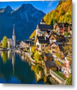 Hallstatt In Fall Metal Print