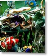 Hammerhead Shark Swimming Through New Abstract Coral Metal Print