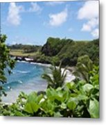 Hamoa Beach Tropical Hana Maui Hawaii Waves And Surfers Metal Print