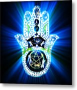 Hamsa Hand Indigo Energy Metal Print by Eva Thomas