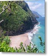 Hanakapiai Beach - Kalalau Trail - Kauai Hawaii Metal Print