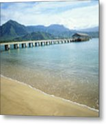 Hanalei Bay And Pier Metal Print