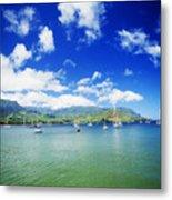 Hanalei Bay With Pier Metal Print