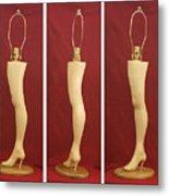 Hand Carved Wood Leg Lamp Metal Print