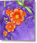 Hand Drawn Pencil And Watercolour Flowers In Orange And Purple Metal Print