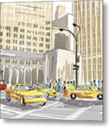 Hand Drawn Sketch Of A Busy New York City Street Metal Print