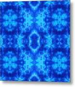Hand-dyed Blue And Turquoise Fabric With Zig Zag Stitch Details  Metal Print