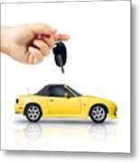 Hand Holding Key To Yellow Sports Car Metal Print