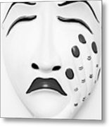 Hand On Face Mask Black White Metal Print