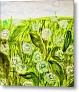 Hand Painted Picture, Meadow With White Dandelines Metal Print