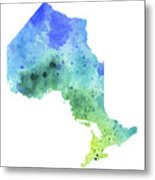 Hand Painted Watercolor Map Of Ontario, Canada In Blue And Green  Metal Print