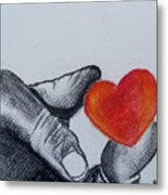 Hand With Heart Metal Print