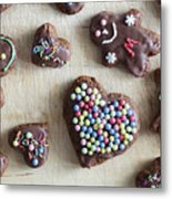 Handmade Decorated Gingerbread Heart And People Figures Metal Print