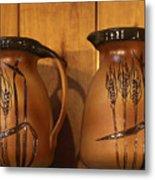 Handmade Pottery Pitchers Metal Print by Linda Phelps