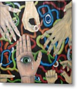 Hands And Eyes Metal Print