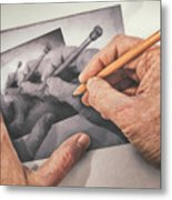 Hands Drawing Hands Metal Print