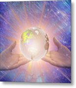 Hands With A Glowing Earth Metal Print