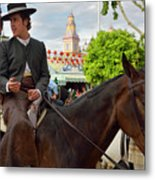 Handsome Man And Beautiful Woman Drinking On Horseback With 2015 Metal Print