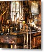 Handyman - Messy Workbench Metal Print
