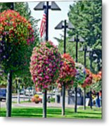 Hanging Flower Baskets In A Park Metal Print