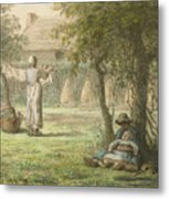 Hanging Out The Laundry By Jean-francois Millet Metal Print