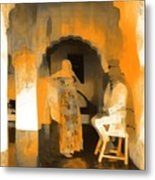 Hanging Out Travel Exotic Arches Orange Abstract Square India Rajasthan 1c Metal Print