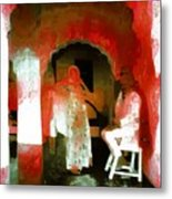 Hanging Out Travel Exotic Arches Red Abstract Square India Rajasthan 1e Metal Print