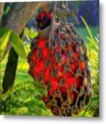 Hanging Red Bottle Garden Art Metal Print