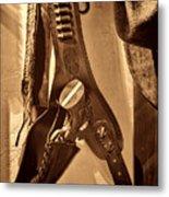 Hanging Revolver Metal Print
