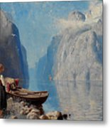Hans Dah,  B. 1849. D. 1937. Norwegian Girl By The Sea Metal Print