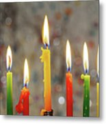 Hanukkah Menorah With Burning Candles Metal Print
