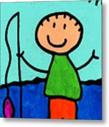 Happi Arte 2 - Boy Fish Art Metal Print by Sharon Cummings