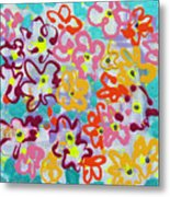 Happy Abstract Flowers Metal Print