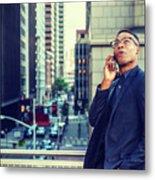 Happy African American Businessman Working In New York Metal Print